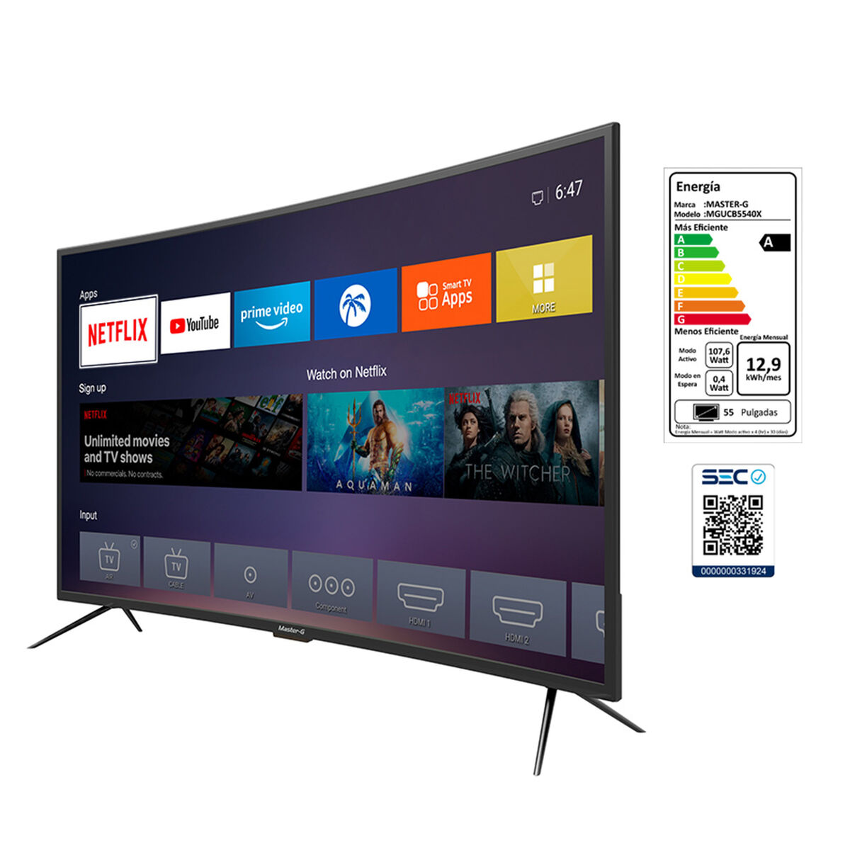 "LED 55"" Master-G MGUCB5540X Smart TV UHD"