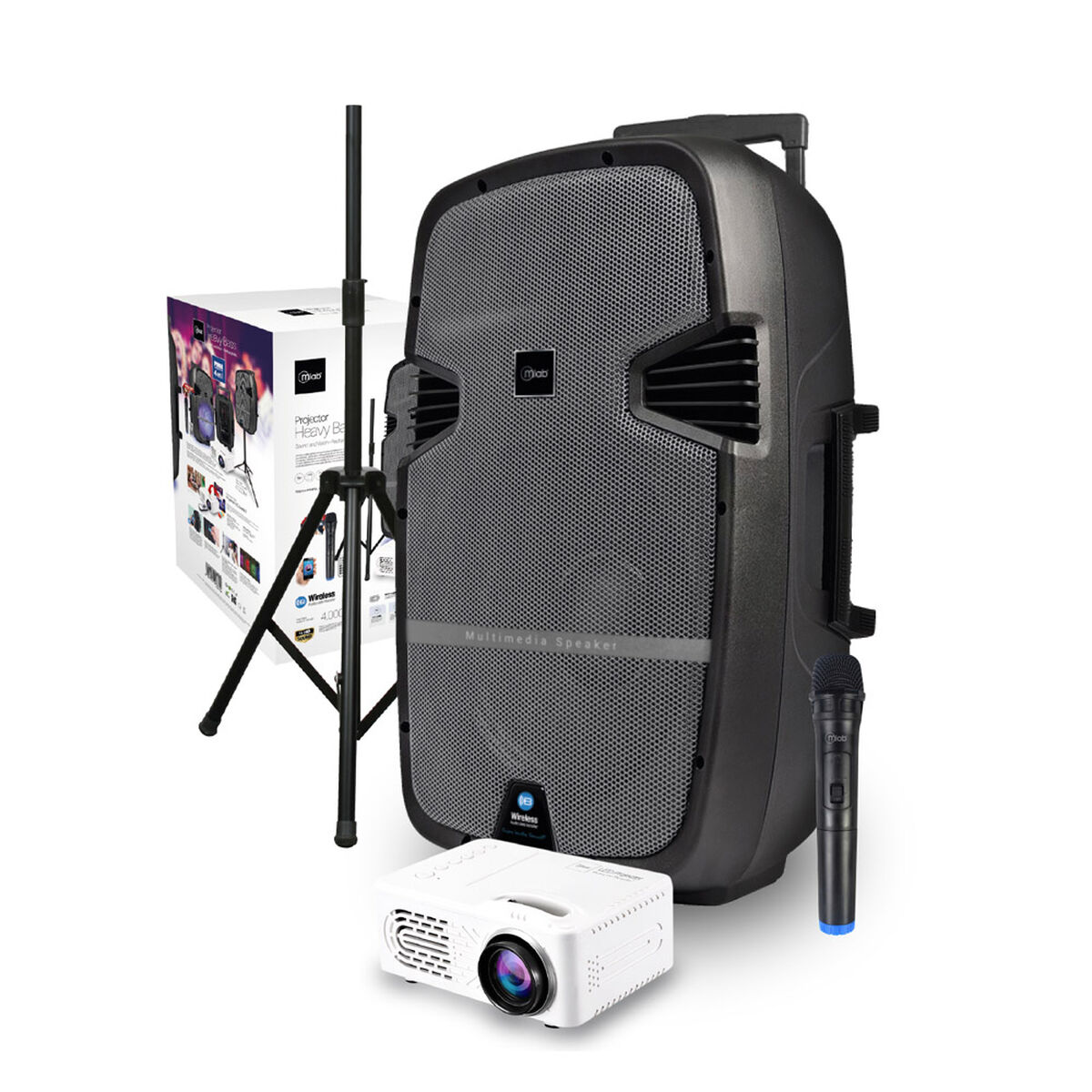 """Minicomponente Microlab Heavy Bass 15"""" + Proyector LED"""