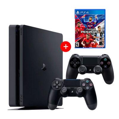 PS4 Sony 500GB Reacondicionada Americana + 2 Mandos Inalámbricos DualShock + Juego PES 2020