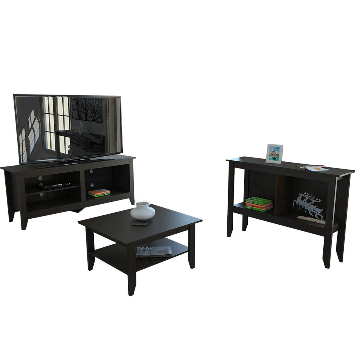 Rack TV + Arrimo + Mesa de Centro TuHome Essential