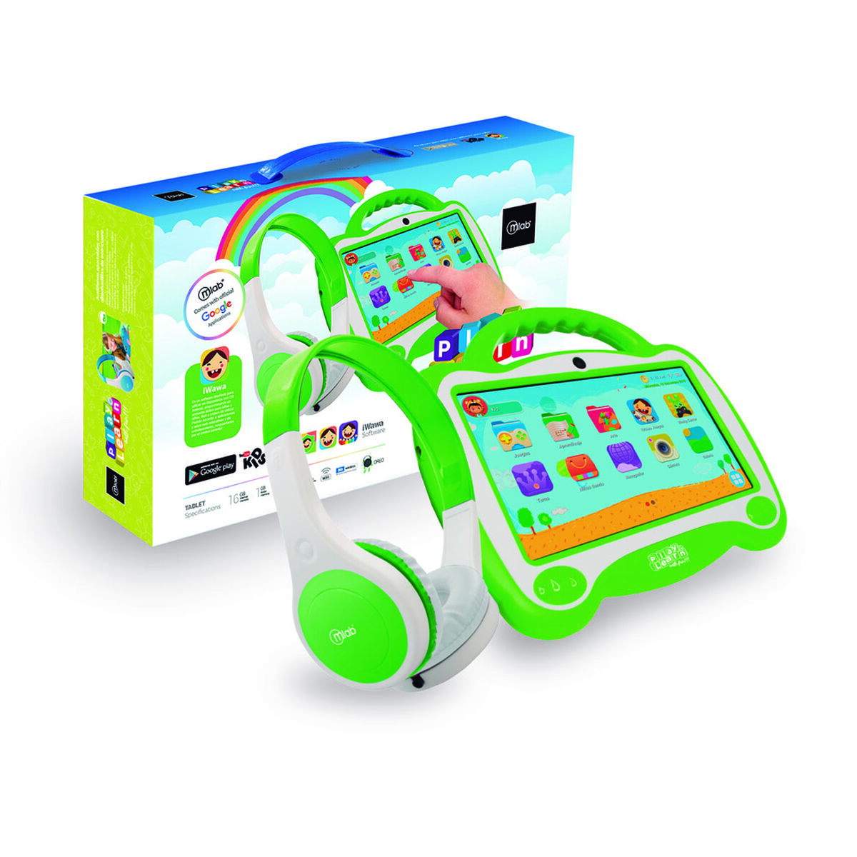 "Tablet Microlab KID Quad Core 1GB 16GB 7"" Verde +Aud"