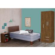 Cama Europea Titán 1.5 Plazas + Respaldo + 1 Velador + Plumón + 1 almohada + juego de sábanas + Clóset 3 puertas / 2 cajones