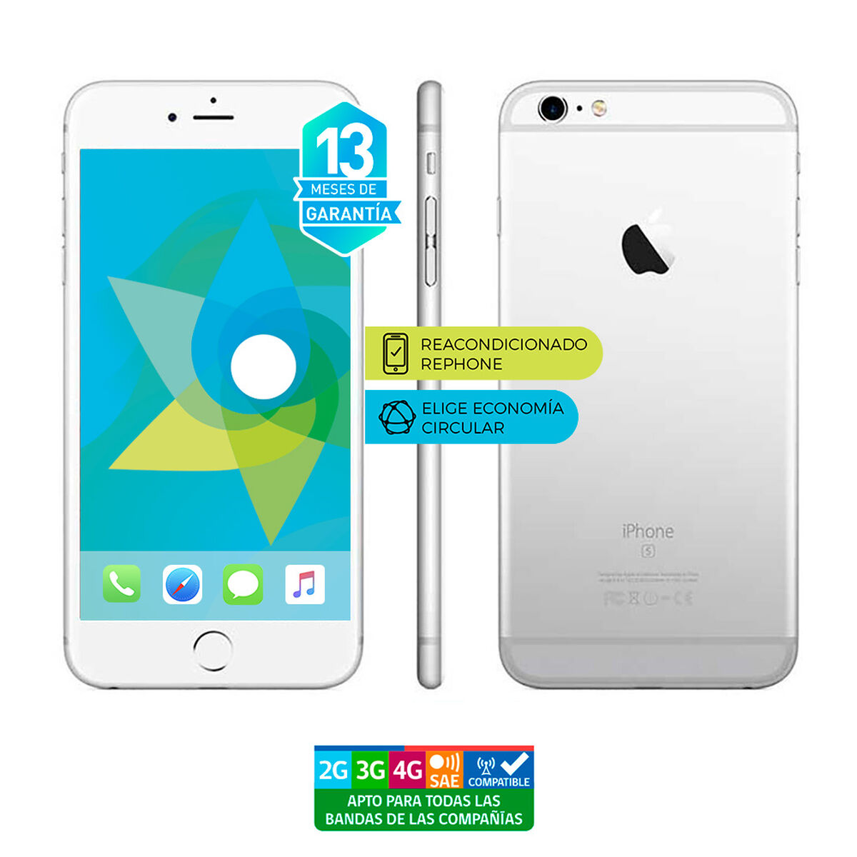 "Celular Apple Iphone 6s 64GB 4.7"" ReacondicionadoPlata Liberado"