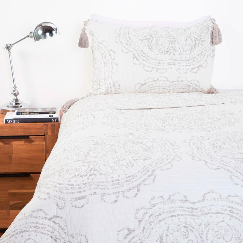 Quilt RS 100%Alg Estamp Parchment 1,5 Plazas