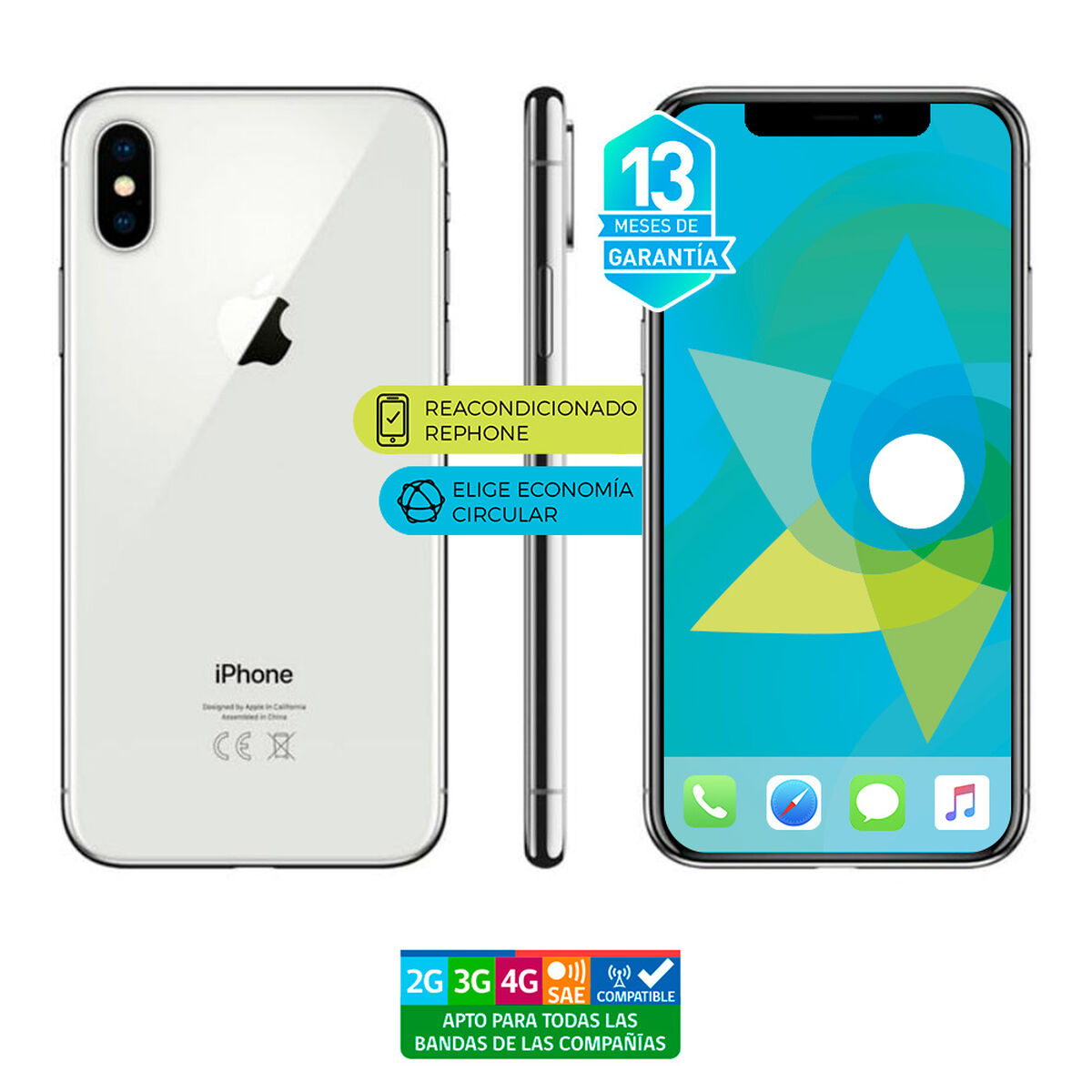 "Celular Apple Iphone X 64GB 5.8"" ReacondicionadoPlata Liberado"
