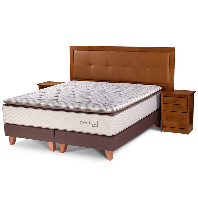 Box Spring King Div + Set Maderas Vera