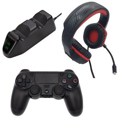 Combo Gamer PS4 Audífono + Gamepad Bluetooth + Cargador Doble Njoytech
