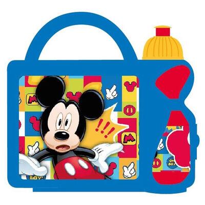 Set 2 Piezas Vajilla Infantil Portasandwich con Botella Mickey
