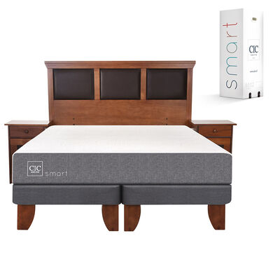 Cama Europea King Div Smart + Set Maderas Torino