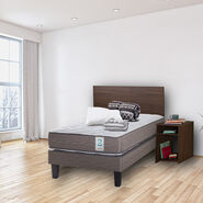 Cama Europea New Style 2 1,5 Plazas + Set Madera Nogal + Set Textil + 1 Almohada