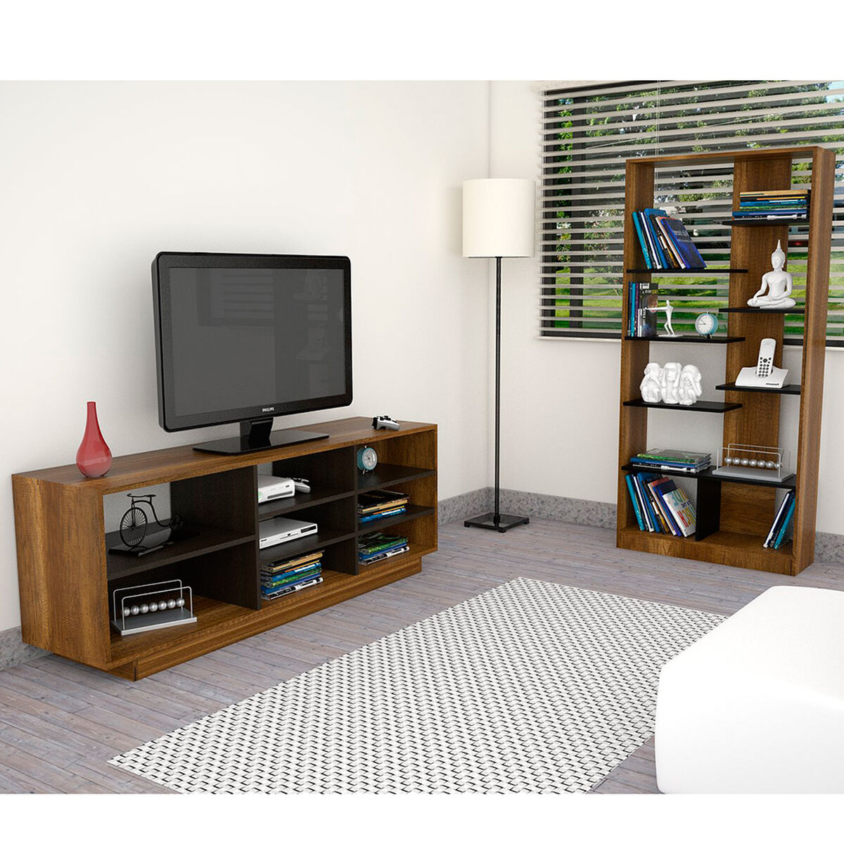 Rack TV + Biblioteca Classic Color TuHome