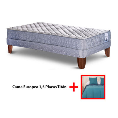 Cama Europea 1,5 Plazas Titan +  Set Plumón Bicolor + 2 Cojines de 1,5 Plazas