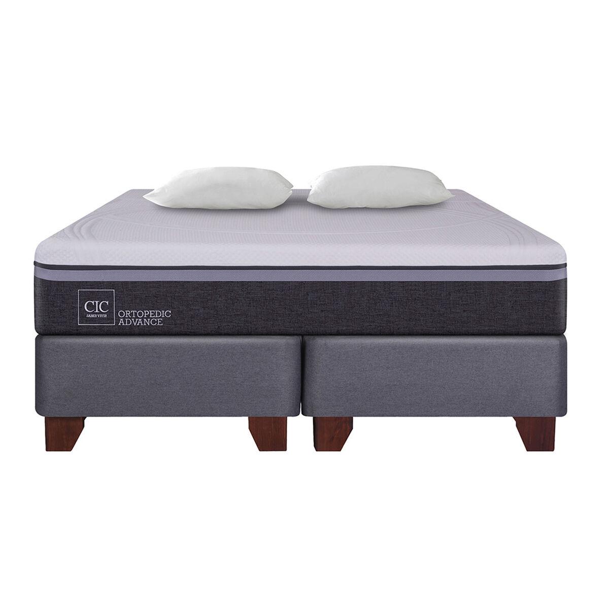 Box Spring 2 Plazas Div Ortopedic Advance + Almohadas
