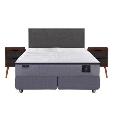 Box Spring Premium King Base Dividida + Mueble + Respaldo Eufrates