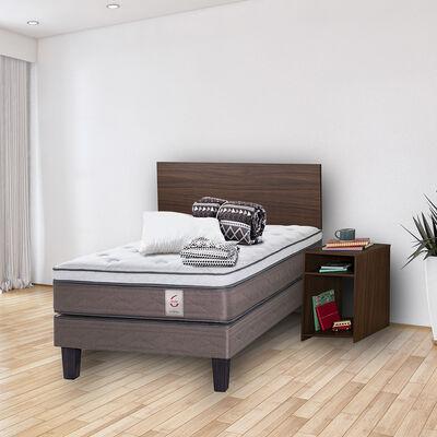 Cama Europea New Style 6 1,5 Plazas + Set Madera Nogal + Set Textil + 1 Almohada