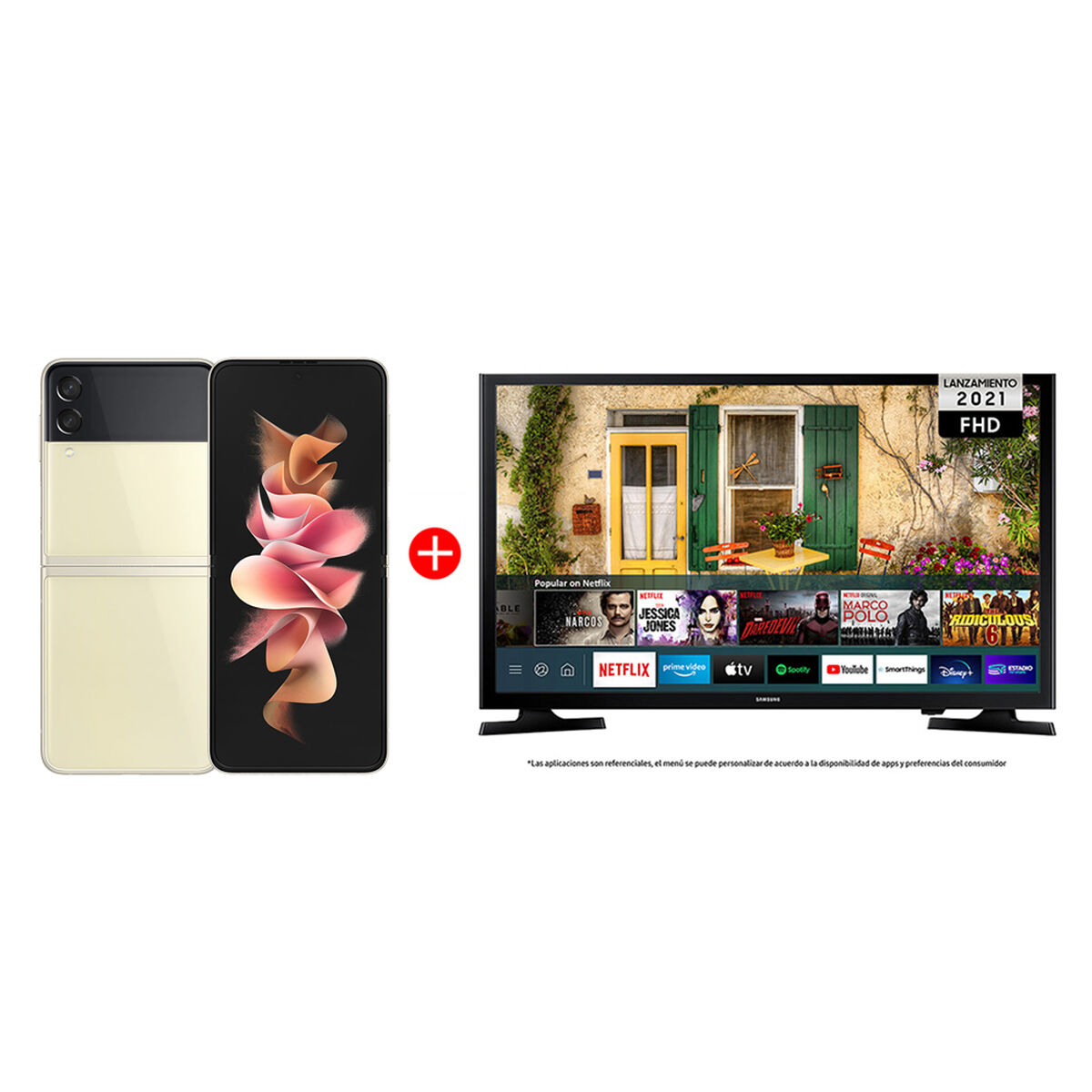 "Combo Celular Samsung Galaxy Z Flip3 5G 128GB Cream + LED 40"" Samsung T5290 Smart TV FHD"