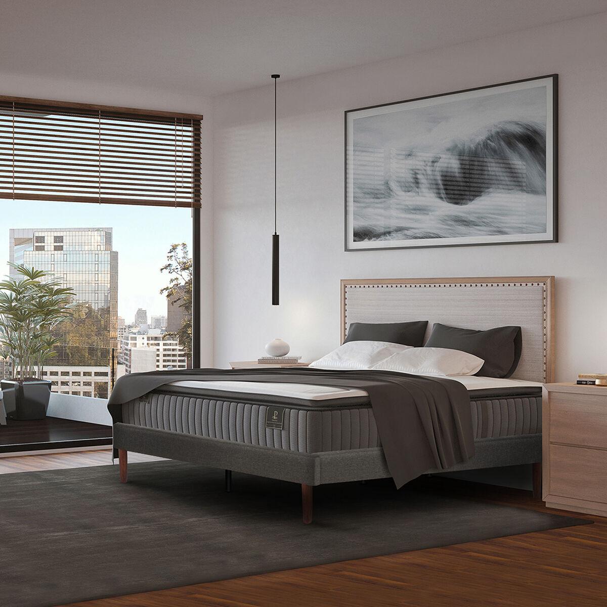 Cama Europea CIC 2 Plazas Curve Premium + Set Textil