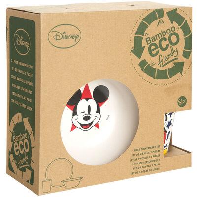 Set 3 Piezas Vajilla Infantil Mickey Material Eco En Caja Blanco