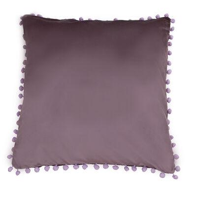 Cojín Velvet con Pompones Lavanda 45 x 45 cm