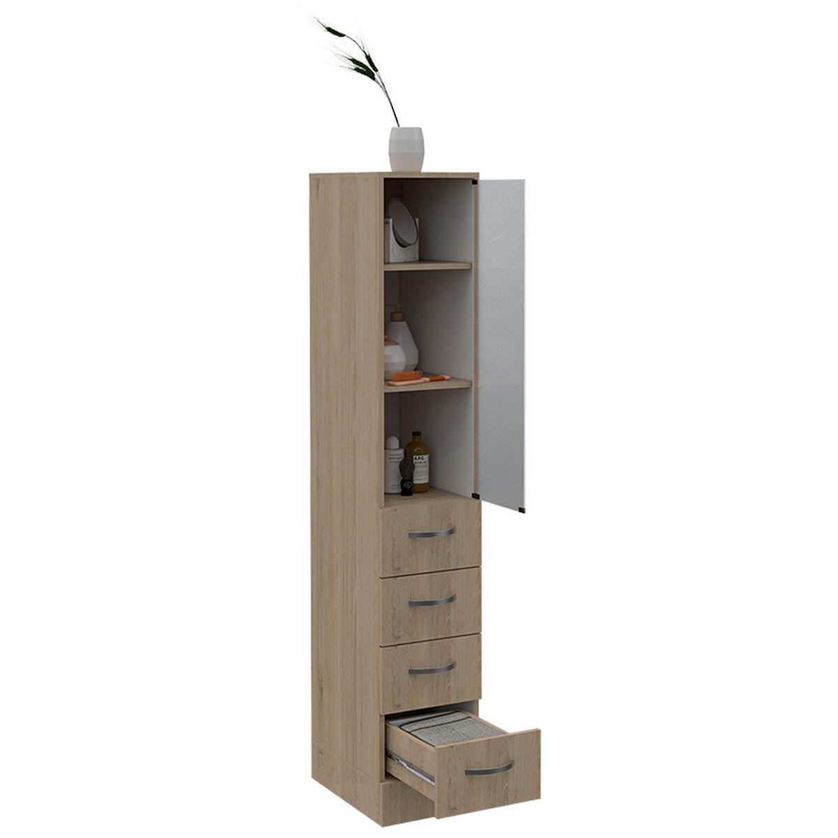 Set Muebles Torre de Baño + Mueble + Auxiliar + Espejo+ Lavamanos