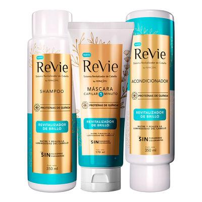 Revie Shampoo + Acondicionador + Máscara Revitalizador Brillo