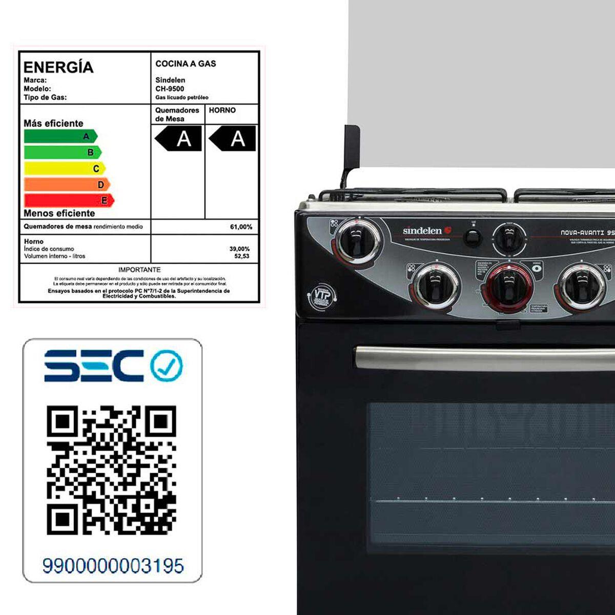 Cocina a Gas Sindelen CH 9500 68 lt
