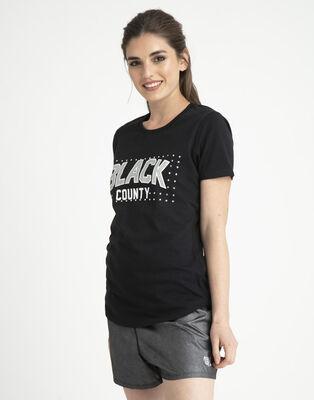 Polera Mujer Black Country Glitter