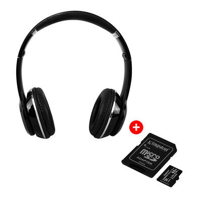 Audífonos Bluetooth Fuji Monster Negros + Tarjeta Micro SD Kingston 64GB con Adaptador