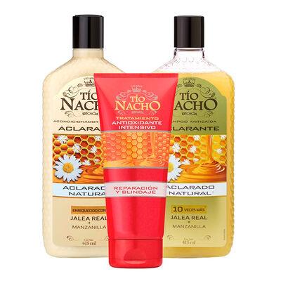 Tío Nacho Shampoo + Acondicionador Aclarante + Tratamiento Antioxidante