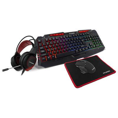 Combo Gamer Hyundai 4 en 1 Teclado + Audífonos + Mouse + MousePad