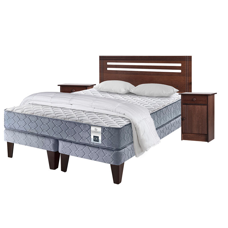 Cama Am. 2 Plazas CIC Essence 3 Base Div. + Madera + Textil