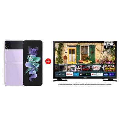"Combo Celular Samsung Galaxy Z Flip3 5G 128GB Lavender + LED 40"" Samsung T5290 Smart TV FHD"
