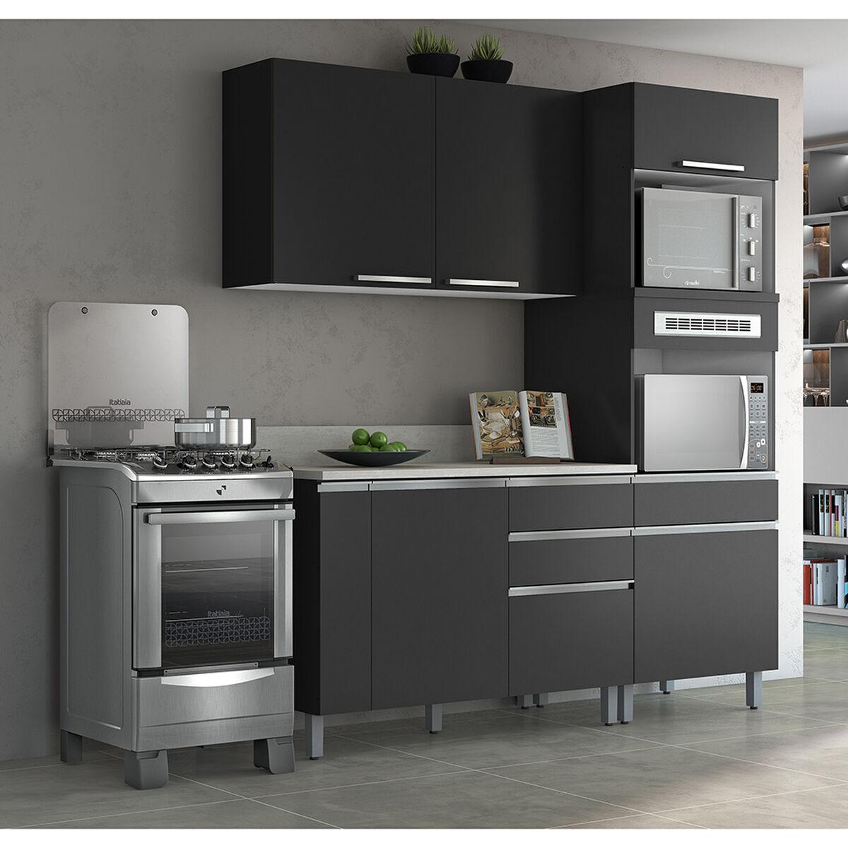 Mueble de Cocina Glory Negro 4 Puertas 6 Cajones | laPolar.cl