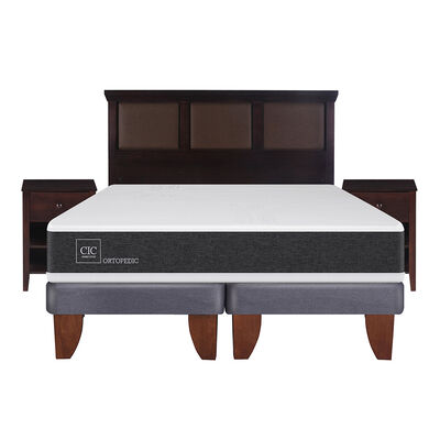 Cama Europea Ortopedic King Base Dividida + Mueble + Respaldo New Torino Choc