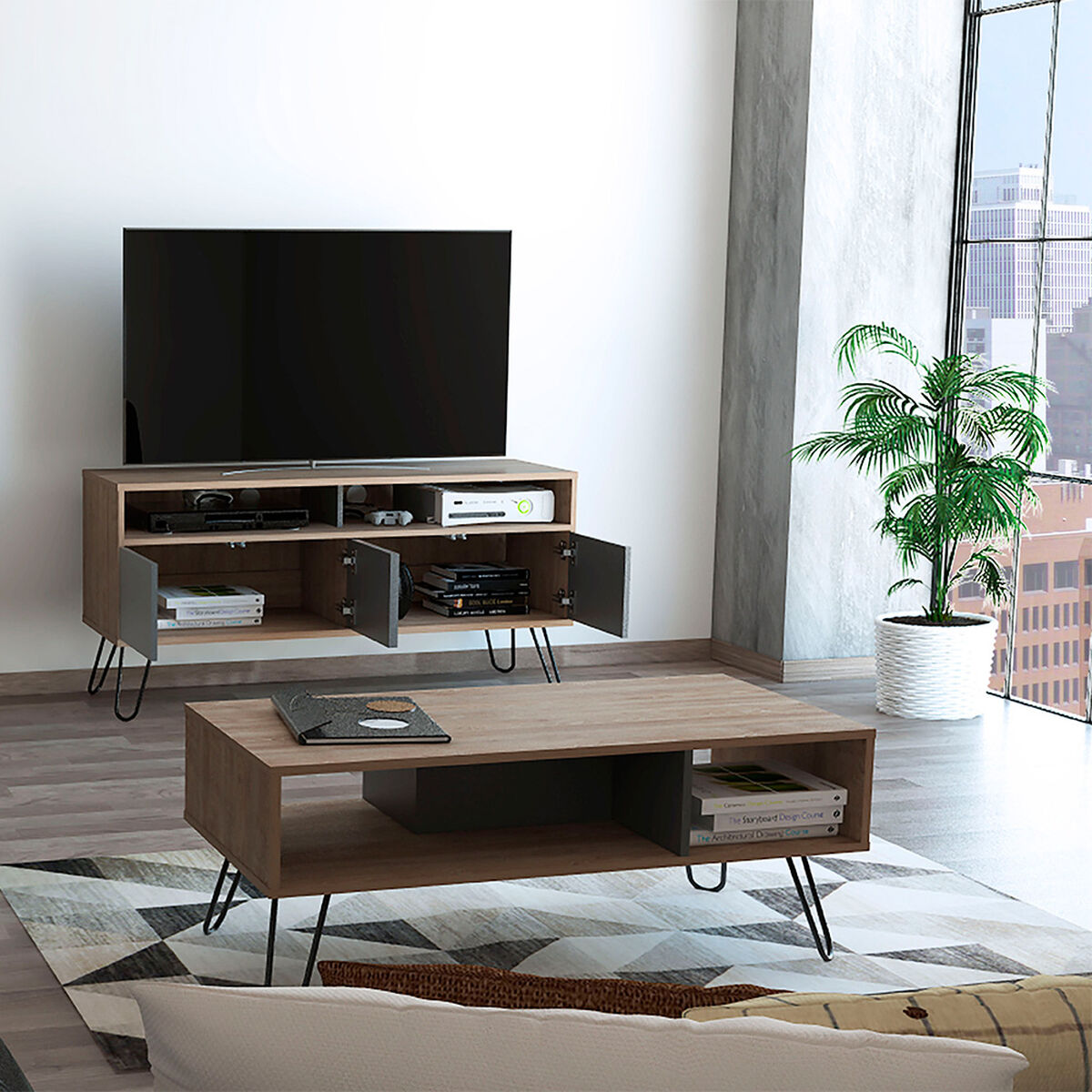 """Rack Tv 55"""" + Bife + Mesa Centro Vassel"""