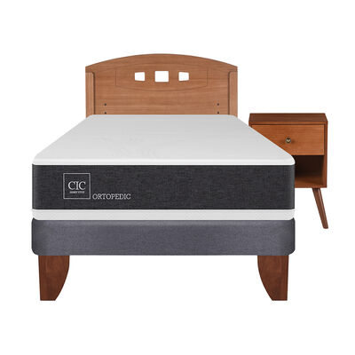 Cama Europea Ortopedic 2 Plazas Base Normal + Mueble + Respaldo New Gales