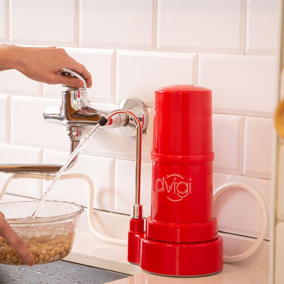 Purificador de Agua Dvigi Filtro Sobre Cubierta Rojo
