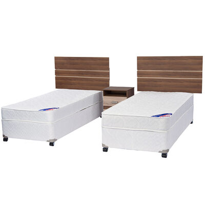 Doble Cama Americana Spring III 1 Pl Flex + Muebles Milano