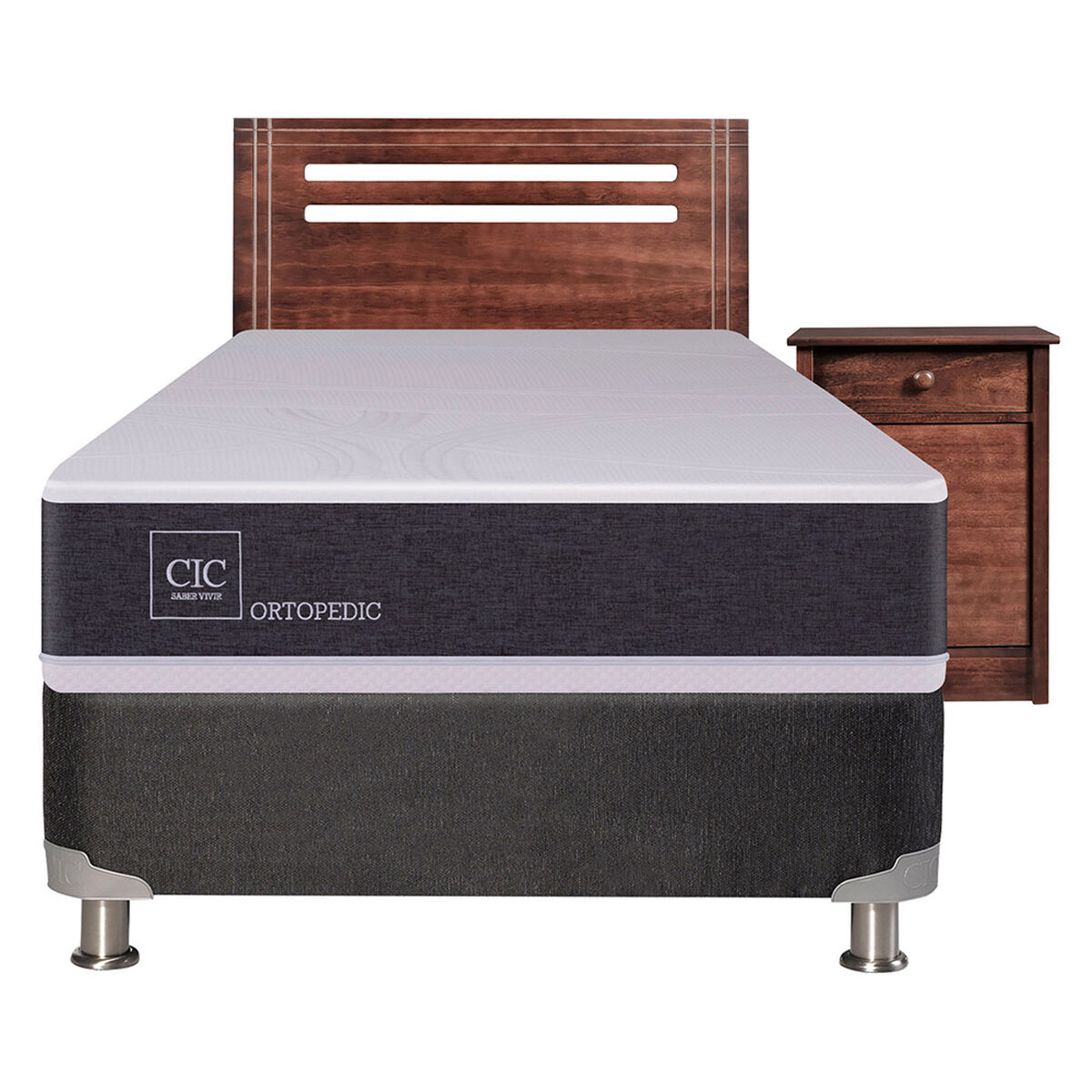 Box Spring 1,5 Plazas Ortopedic + Set Maderas Munich
