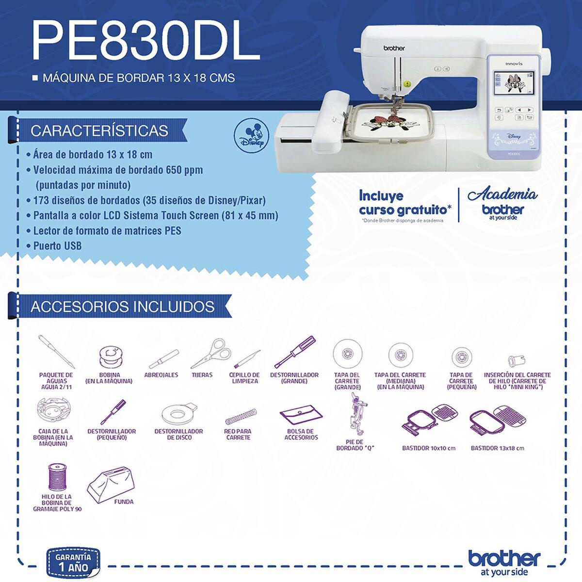 Máquina Bordadora Brother con Diseños Disney PE830DL