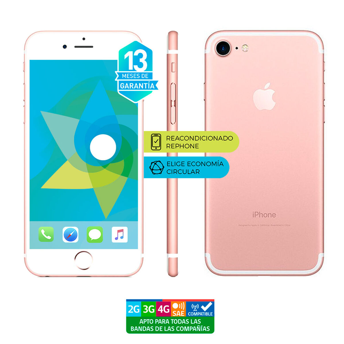 "Celular Apple Iphone 7 32GB 4.7"" ReacondicionadoRosado Liberado"