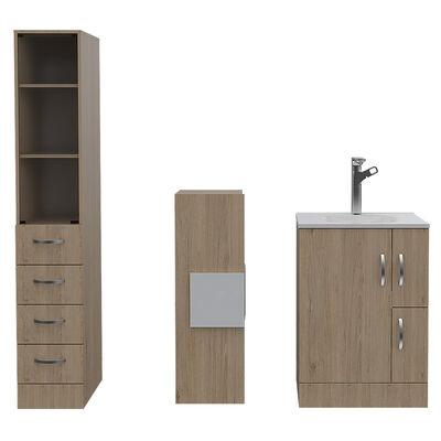 Set Muebles Torre de Baño + Mueble + Auxiliar + Espejo