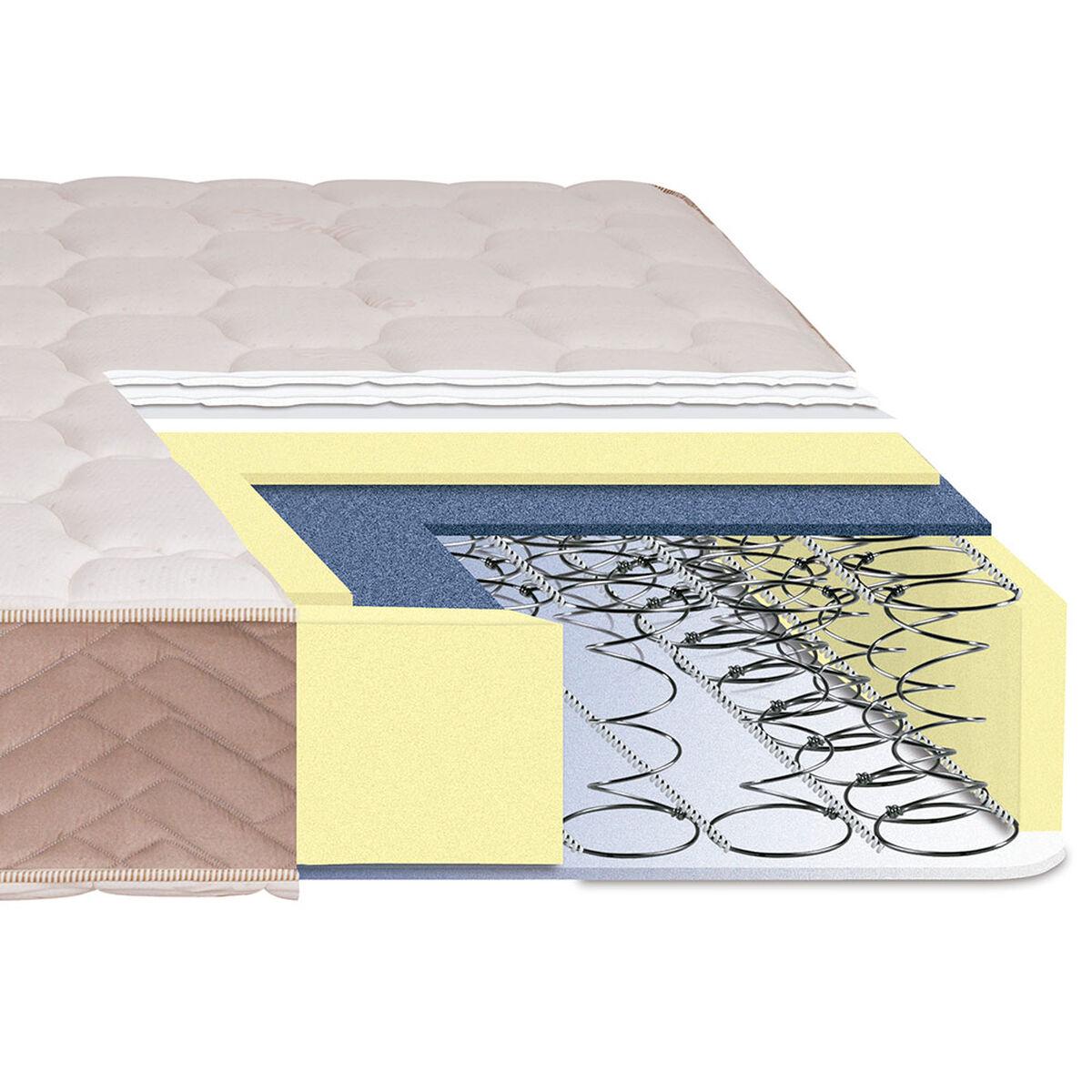 Cama Europea Celta 2 Plazas Base Normal Bamboo + Textil + Almohadas