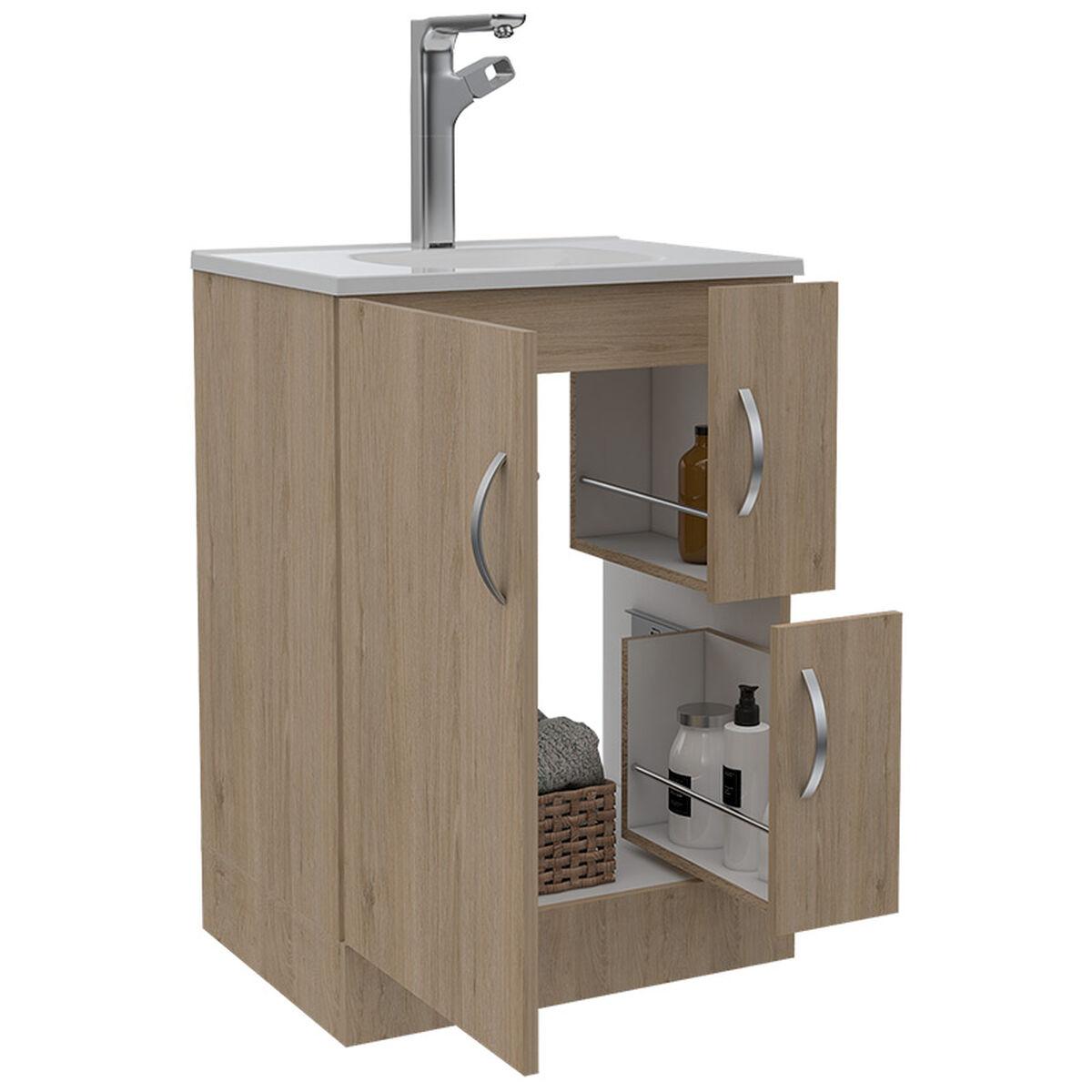 Set Muebles Torre de Baño + Mueble + Espejo de Baño + Lavamanos