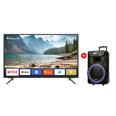 """Combo LED 50"""" BGH B5020UK6IC Smart TV UHD 4K + Parlante Portátil MG Ultra Mega 15"""" con Atril"""
