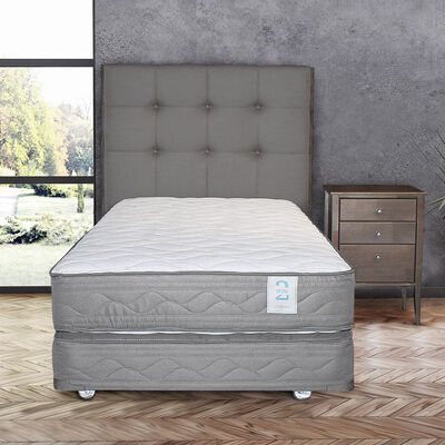 Box Spring 1,5 Plazas New Style 2 + Set Maderas Issey
