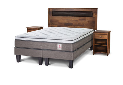 Cama Europea King New Style 6 + Set Maderas Ferrara
