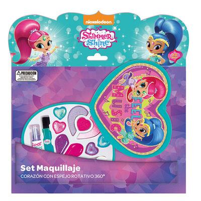 Set Maquillaje Corazon Con Espejo Rotativo 360° Shimmer And Shine Nickelodeon