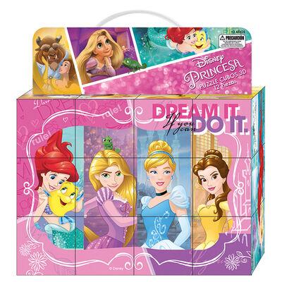 Puzzle 12 Cubos 3D 24X18Cm Princesas Disney