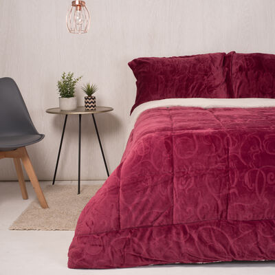 Plumón Flannel Sherpa Embossed Fucsia 2 Plazas